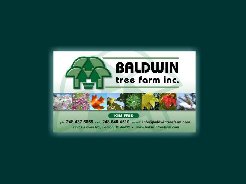 Baldwin Tree Farm Business Card - Zodiac Enterprises